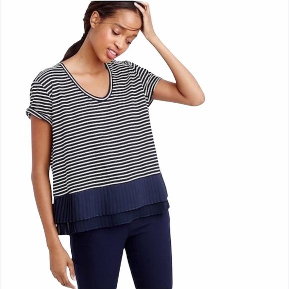 J. Crew Pleated Chiffon Hem Navy Stripe Shirt